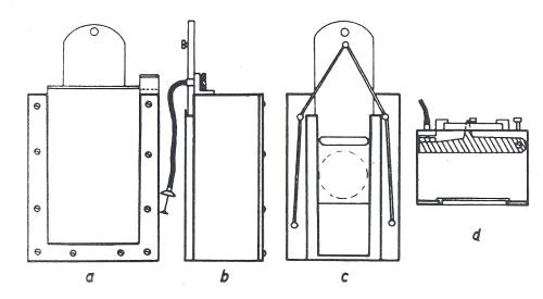 Obr. 15.8: Schéma uzávěrky pro sluneční komoru: a - pohled na kazetouvou část; b - boční pohled; c - čelní pohled; d - horní pohled.
