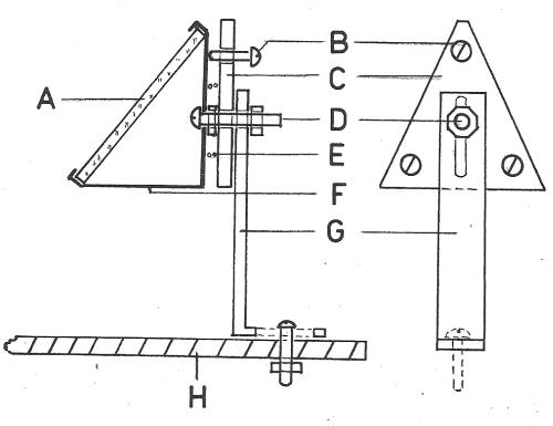 Obr. 16.5 Nosné a regulační zařízení zrcadélka. A) sekundární zrcadélko, B) šroub regulace sklonu zrcadélka, C) destička s regulačními šrouby, D) nosný šroub destičky regulace a nosníku zrcadélka, E) pružina, F) nosník zrcadélka, G) nosný sloupek.