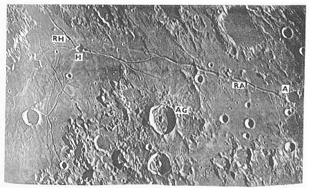 Obr. 12: Rima Ariadaeus (Ariadaeova brázda , RA) vychází z kráteru Ariadaeus, Rima Hyginus (RH) prochází kráterem Hyginus (H). Jižně od nich leží kráter Agrippa (AG). P. m. B.