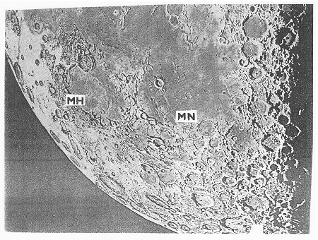 Obr. 3: Mare Humorum (MH) a Mare Nubium (MN) v JZ části Měsíce. Přehledná mapa (dále jen p. m.), segment B.