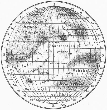 Obr. 2: Mapa povrchu Merkuru podle Antoniadiho.