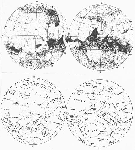 Obr. 6: Přehledná mapa Marsu podle Rükla