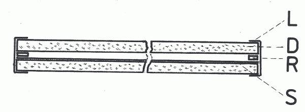 Obr. 2: Jednoduchý sazový filtr: L - lepící páska; D - skleněná destička; R - rámeček; S - vrstva sazí.