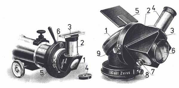 Obr. 8: Helioskopické okuláry firmy Weiss - Herschelův typ (vlevo) a Coziho typ (vpravo): Herschelův typ: 1 - pouzdro Herschelova hranolu; 2 - pouzdro okuláru; 3 - klínový filtr za okulárem; 4 - kruhový filtr v objímce; 5 - aretace otáčení okuláru kolem osy; 6 - páka upevňovacího zařízení na okulárovém výtahu dalekohledu. Coziho typ: 1 - pouzdro Herschelova hranolu; 2 - pouzdro pravoúhlého hranolu; 3 - komůrka s kapalinou; 4 - pouzdro okuláru; 5 - pomocné zrcátko; 6 - okénko komůrky s kapalinou pro výstup světla; 7 - otvor pro plnění komůrky; 8 - aretace otáčení celého okuláru okolo osy dalekohledu; 9 - aretace otáčení pravoúhlého hranolu.